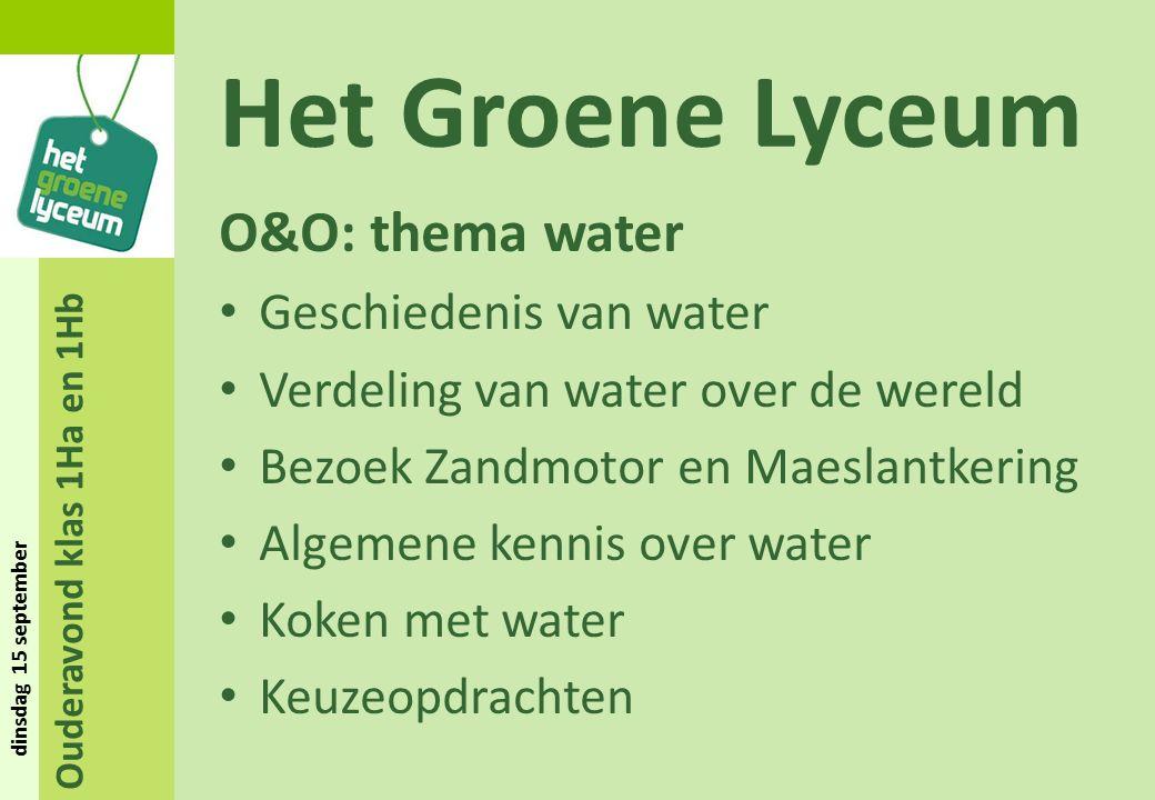 Ouderavond klas 1Ha en 1Hb dinsdag 15 september Het Groene Lyceum O&O: thema water Geschiedenis van water Verdeling van water over de wereld Bezoek Za