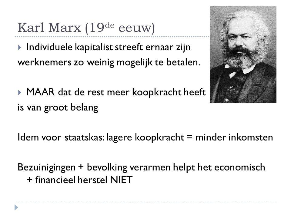 Karl Marx (19 de eeuw)  Individuele kapitalist streeft ernaar zijn werknemers zo weinig mogelijk te betalen.  MAAR dat de rest meer koopkracht heeft