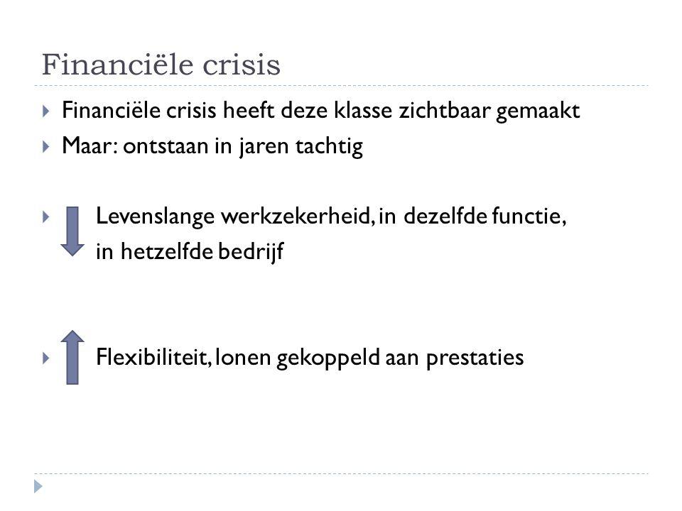 Financiële crisis  Financiële crisis heeft deze klasse zichtbaar gemaakt  Maar: ontstaan in jaren tachtig  Levenslange werkzekerheid, in dezelfde f