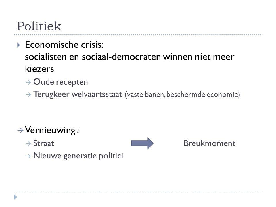 Politiek  Economische crisis: socialisten en sociaal-democraten winnen niet meer kiezers  Oude recepten  Terugkeer welvaartsstaat (vaste banen, bes