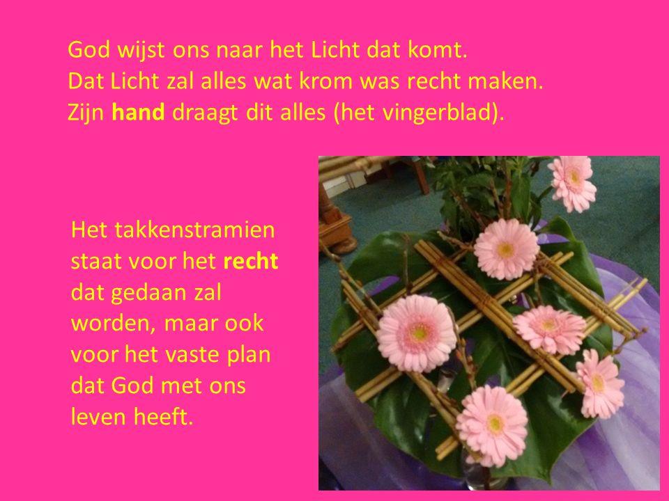 De paarse en roze bloemen geven met hun kleuren Gods trouw en belofte weer met uitzicht op het Licht van Bethlehem.