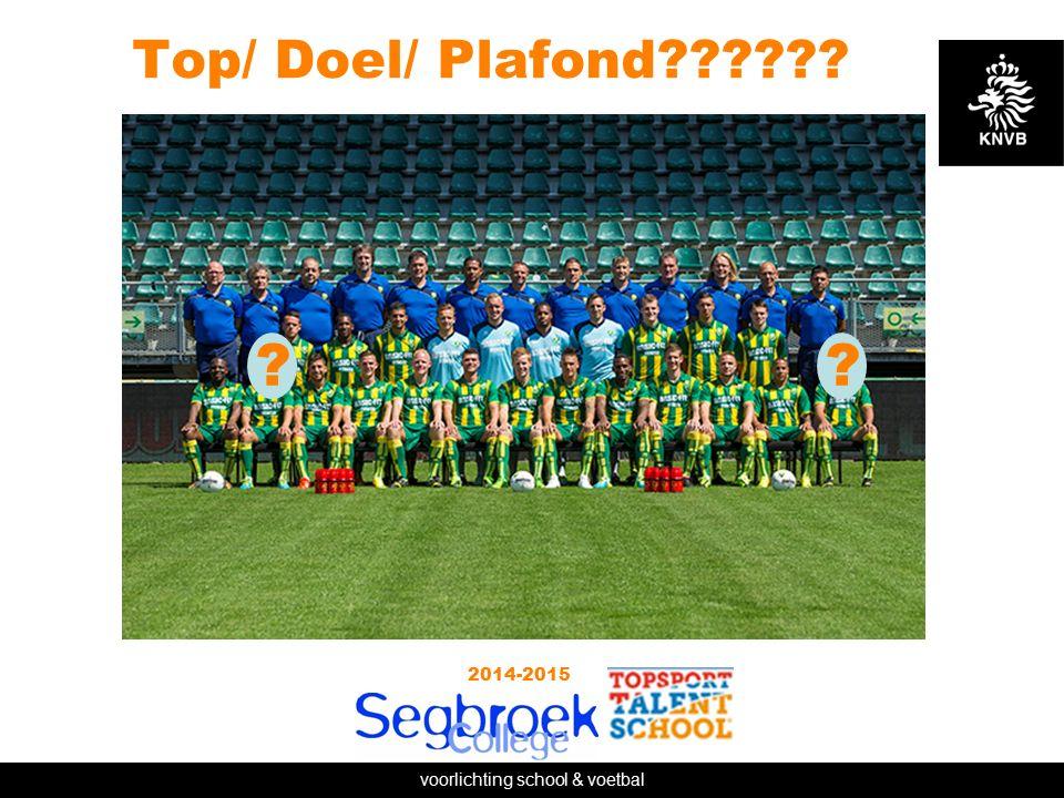 voorlichting school & voetbal Top/ Doel/ Plafond 2014-2015