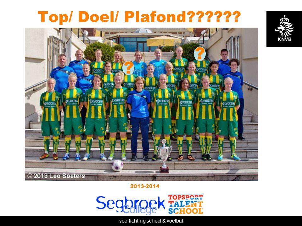voorlichting school & voetbal Top/ Doel/ Plafond 2013-2014