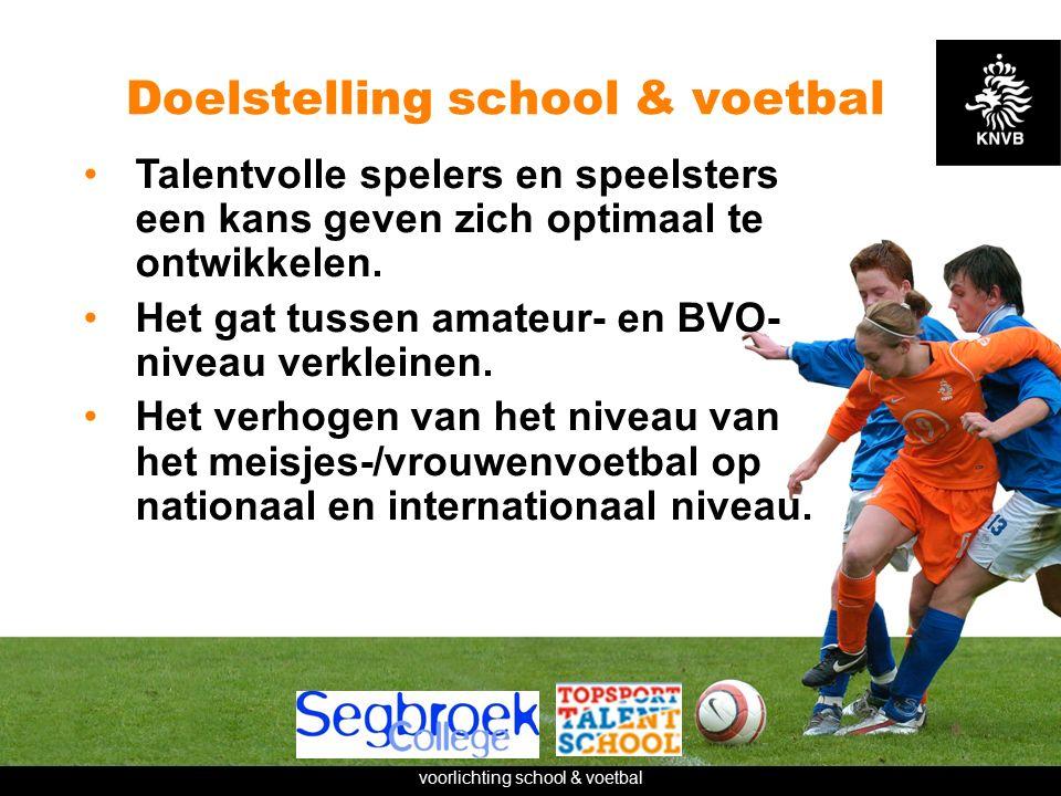 voorlichting school & voetbal Doelstelling school & voetbal Talentvolle spelers en speelsters een kans geven zich optimaal te ontwikkelen.