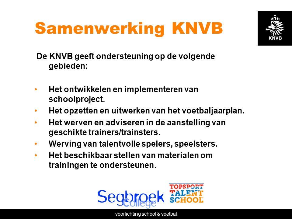 voorlichting school & voetbal Samenwerking KNVB De KNVB geeft ondersteuning op de volgende gebieden: Het ontwikkelen en implementeren van schoolproject.