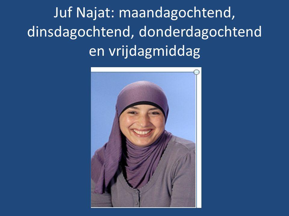 Juf Najat: maandagochtend, dinsdagochtend, donderdagochtend en vrijdagmiddag