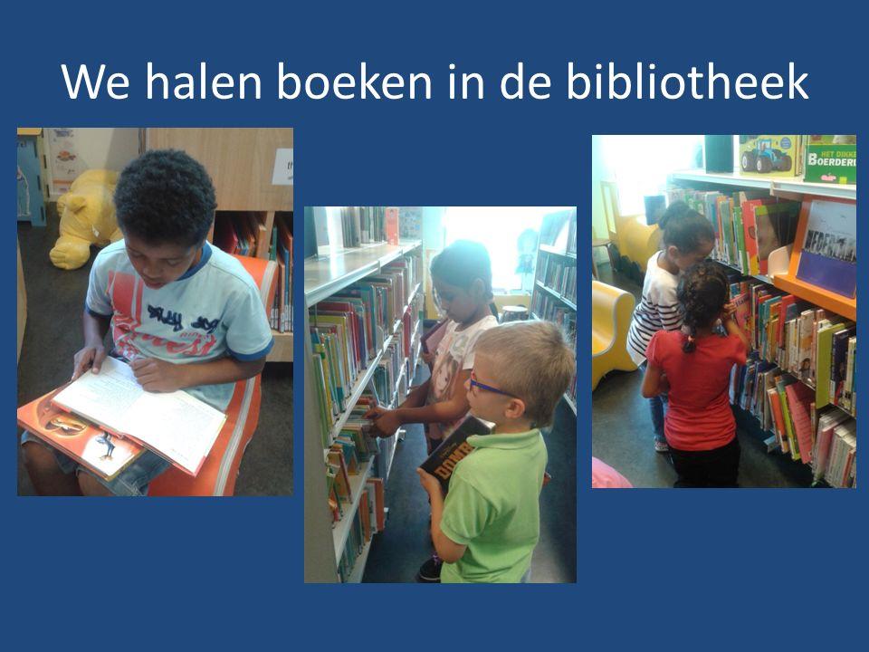 We halen boeken in de bibliotheek