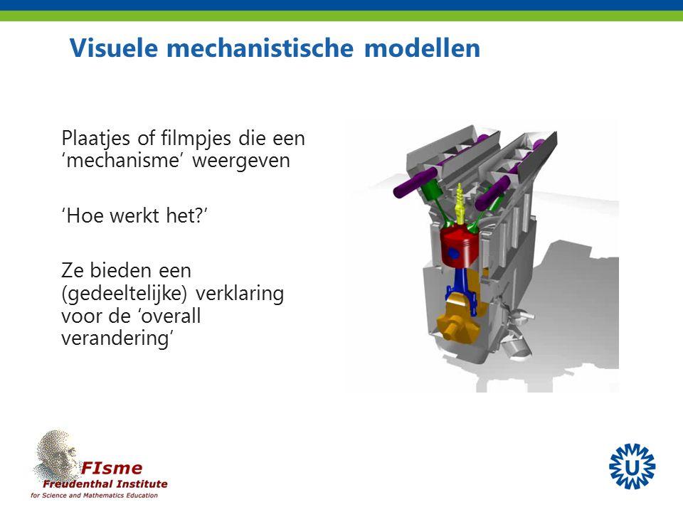 Plaatjes of filmpjes die een 'mechanisme' weergeven 'Hoe werkt het ' Ze bieden een (gedeeltelijke) verklaring voor de 'overall verandering' Visuele mechanistische modellen