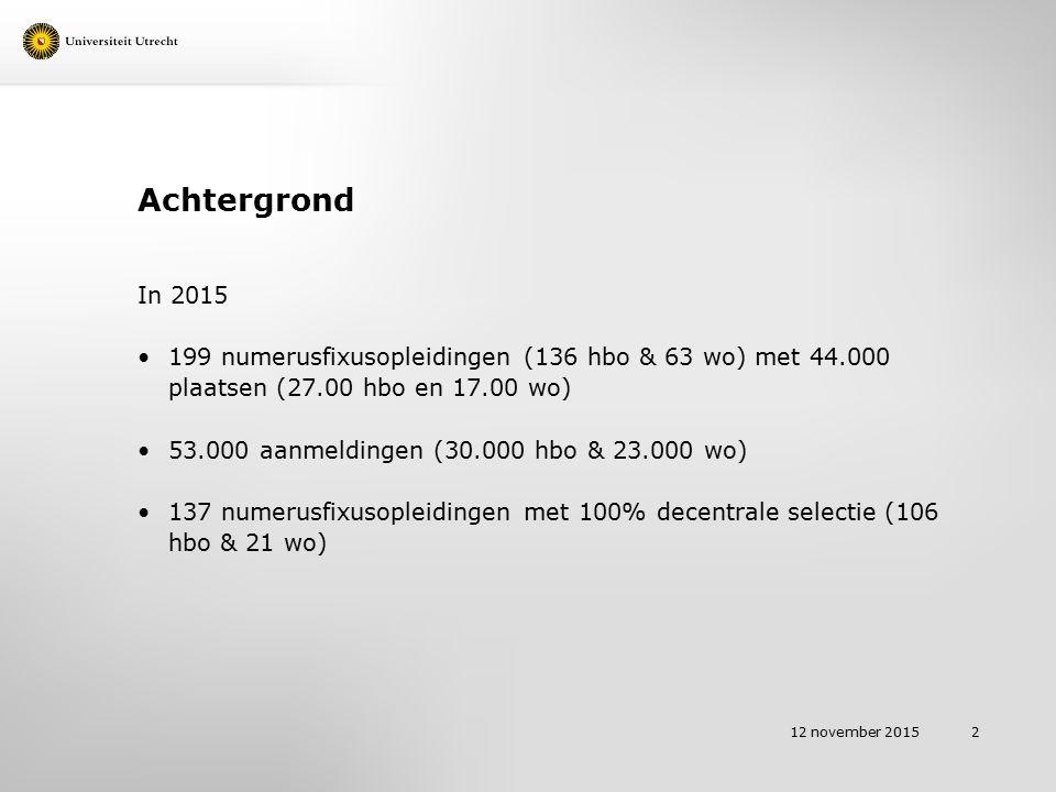 Achtergrond Voor studiejaar 2016-2017 heeft de Universiteit Utrecht vier numerusfixusopleidingen Biomedische Wetenschappen / 175 plaatsen / 100 % decentraal Diergeneeskunde / 225 plaatsen waarvan 30 % decentraal Geneeskunde / 304 plaatsen / 100 % decentraal Farmacie / 270 plaatsen / 100 % decentraal 12 november 2015 3