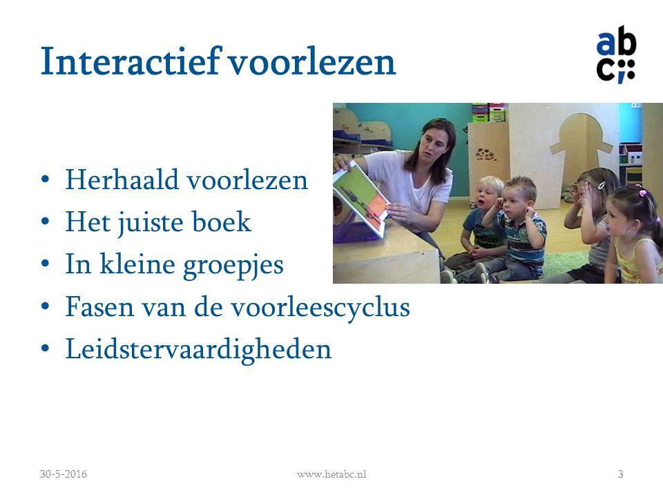 Interactief voorlezen Herhaald voorlezen Het juiste boek In kleine groepjes Fasen van de voorleescyclus Leidstervaardigheden 30-5-2016www.hetabc.nl3