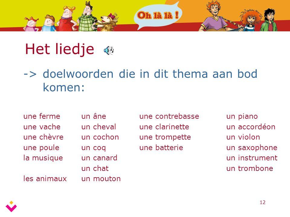 12 Het liedje ->doelwoorden die in dit thema aan bod komen: une fermeun âneune contrebasseun piano une vacheun chevalune clarinetteun accordéon une ch