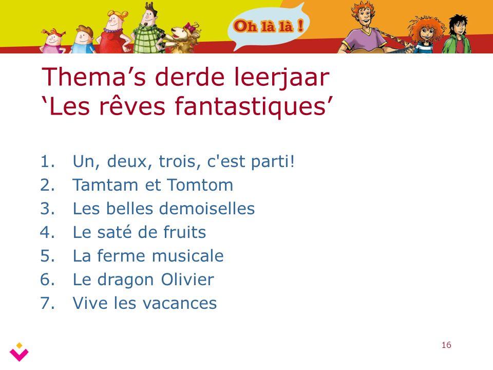 16 Thema's derde leerjaar 'Les rêves fantastiques' 1.Un, deux, trois, c est parti.