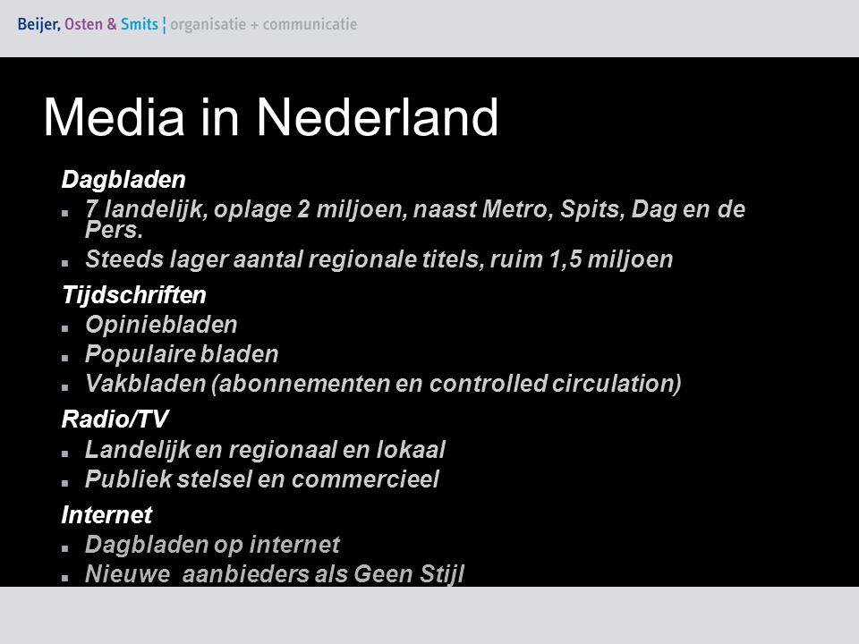 Dagbladen 7 landelijk, oplage 2 miljoen, naast Metro, Spits, Dag en de Pers.