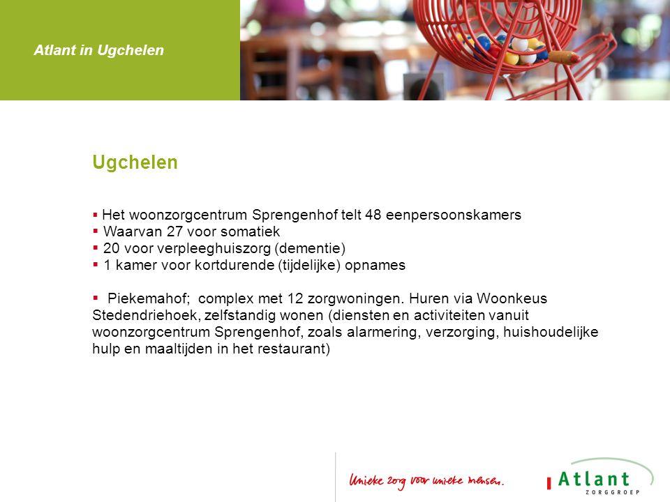 Ugchelen  Het woonzorgcentrum Sprengenhof telt 48 eenpersoonskamers  Waarvan 27 voor somatiek  20 voor verpleeghuiszorg (dementie)  1 kamer voor kortdurende (tijdelijke) opnames  Piekemahof; complex met 12 zorgwoningen.