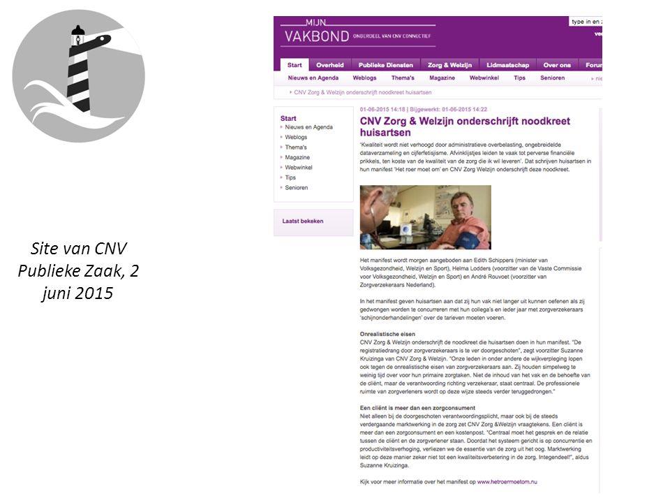 Site van CNV Publieke Zaak, 2 juni 2015