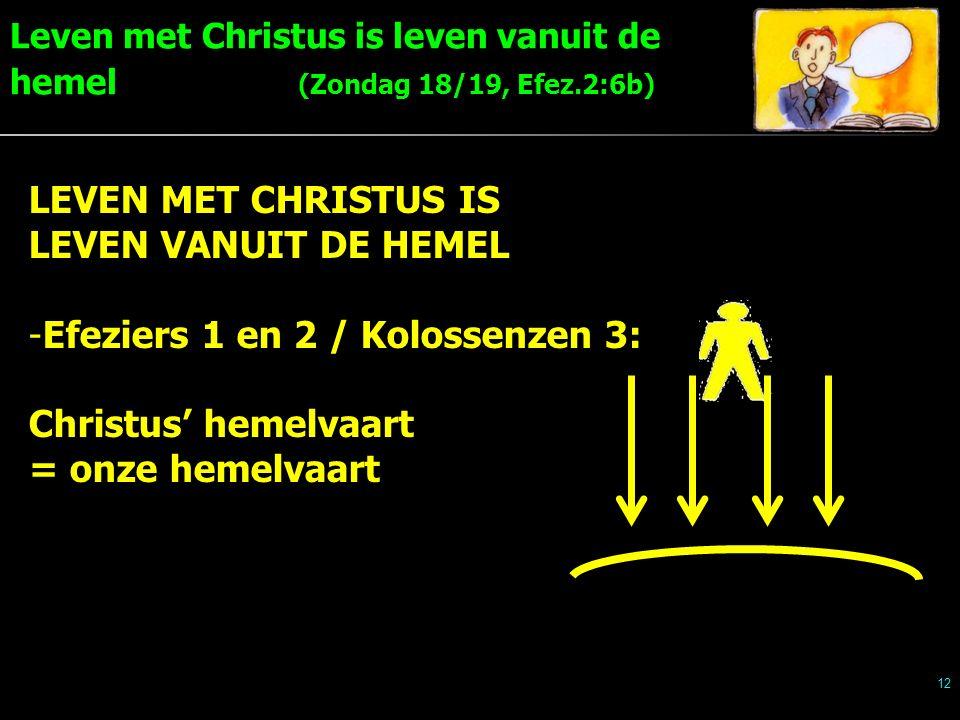Leven met Christus is leven vanuit de hemel (Zondag 18/19, Efez.2:6b) 12 LEVEN MET CHRISTUS IS LEVEN VANUIT DE HEMEL -Efeziers 1 en 2 / Kolossenzen 3: Christus' hemelvaart = onze hemelvaart