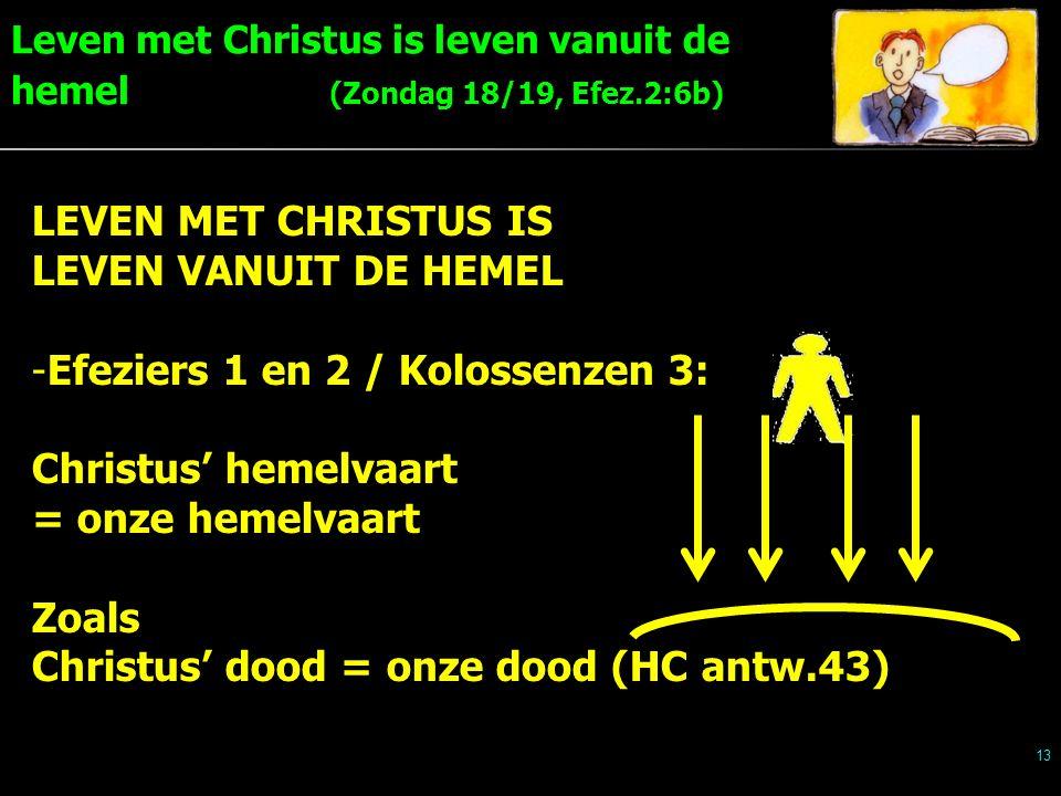 Leven met Christus is leven vanuit de hemel (Zondag 18/19, Efez.2:6b) 13 LEVEN MET CHRISTUS IS LEVEN VANUIT DE HEMEL -Efeziers 1 en 2 / Kolossenzen 3: Christus' hemelvaart = onze hemelvaart Zoals Christus' dood = onze dood (HC antw.43)