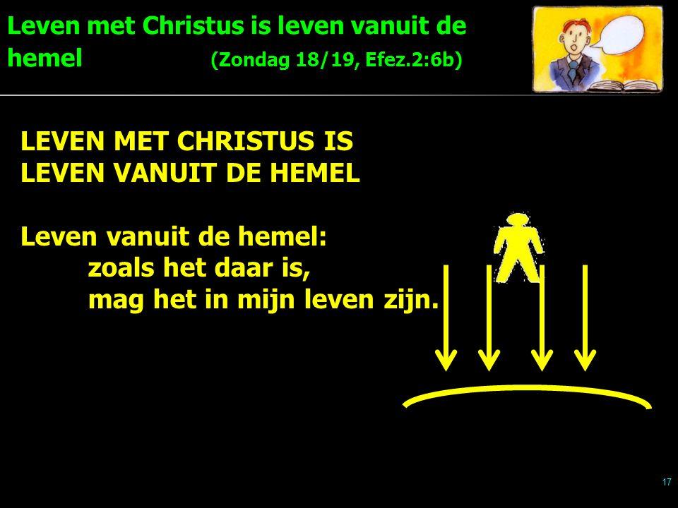 Leven met Christus is leven vanuit de hemel (Zondag 18/19, Efez.2:6b) 17 LEVEN MET CHRISTUS IS LEVEN VANUIT DE HEMEL Leven vanuit de hemel: zoals het daar is, mag het in mijn leven zijn.