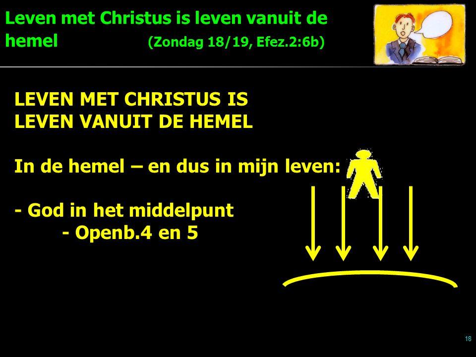 Leven met Christus is leven vanuit de hemel (Zondag 18/19, Efez.2:6b) 18 LEVEN MET CHRISTUS IS LEVEN VANUIT DE HEMEL In de hemel – en dus in mijn leven: - God in het middelpunt - Openb.4 en 5