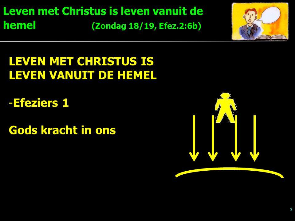Leven met Christus is leven vanuit de hemel (Zondag 18/19, Efez.2:6b) 3 LEVEN MET CHRISTUS IS LEVEN VANUIT DE HEMEL -Efeziers 1 Gods kracht in ons