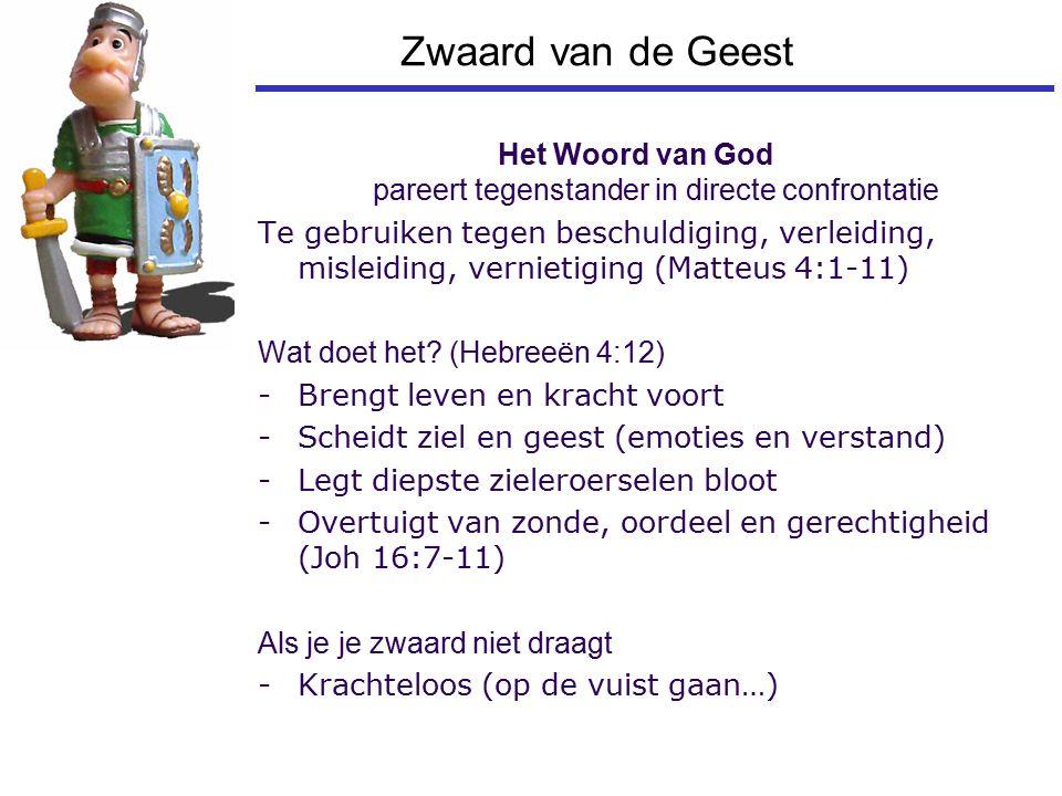 Zwaard van de Geest Het Woord van God pareert tegenstander in directe confrontatie Te gebruiken tegen beschuldiging, verleiding, misleiding, vernietig