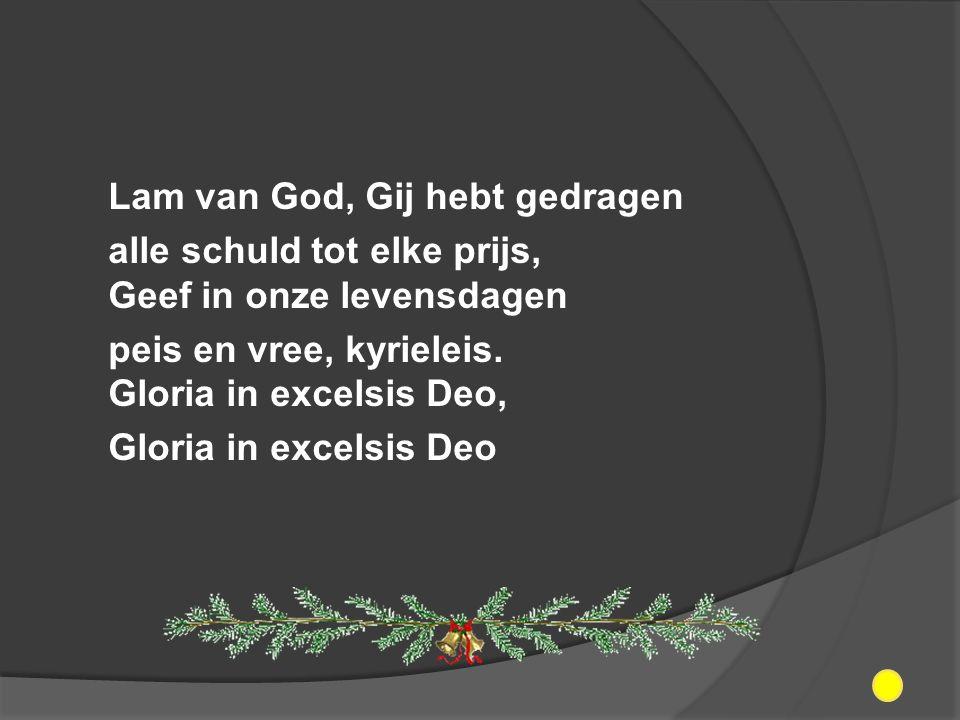 Lam van God, Gij hebt gedragen alle schuld tot elke prijs, Geef in onze levensdagen peis en vree, kyrieleis.