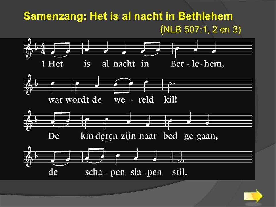 Samenzang: Het is al nacht in Bethlehem ( NLB 507:1, 2 en 3)