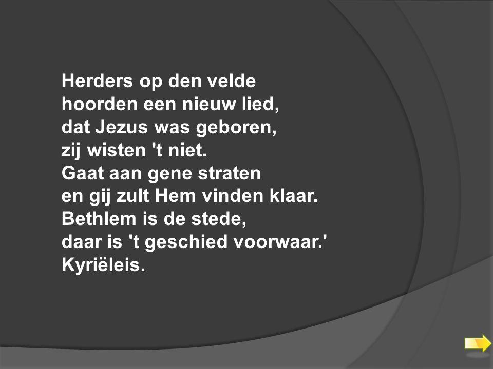 Herders op den velde hoorden een nieuw lied, dat Jezus was geboren, zij wisten t niet.