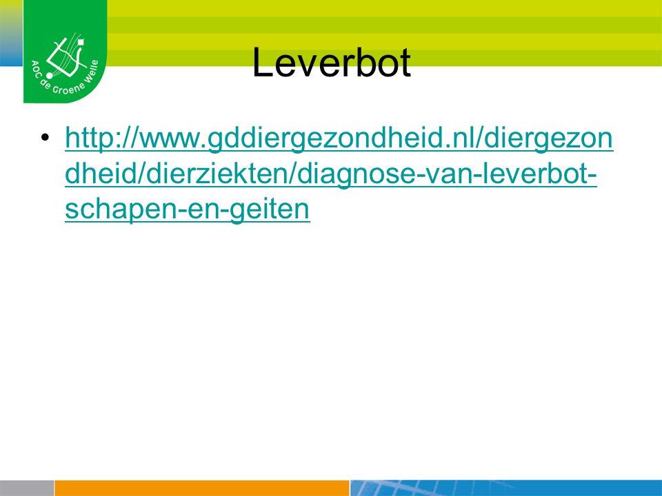 Leverbot http://www.gddiergezondheid.nl/diergezon dheid/dierziekten/diagnose-van-leverbot- schapen-en-geitenhttp://www.gddiergezondheid.nl/diergezon d