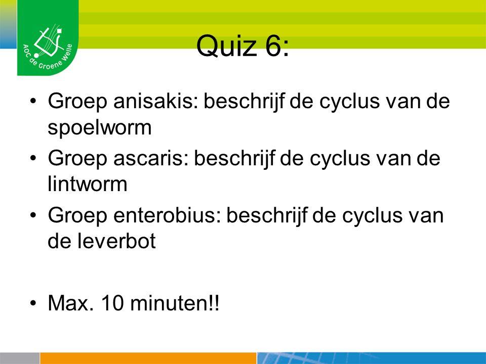 Quiz 6: Groep anisakis: beschrijf de cyclus van de spoelworm Groep ascaris: beschrijf de cyclus van de lintworm Groep enterobius: beschrijf de cyclus