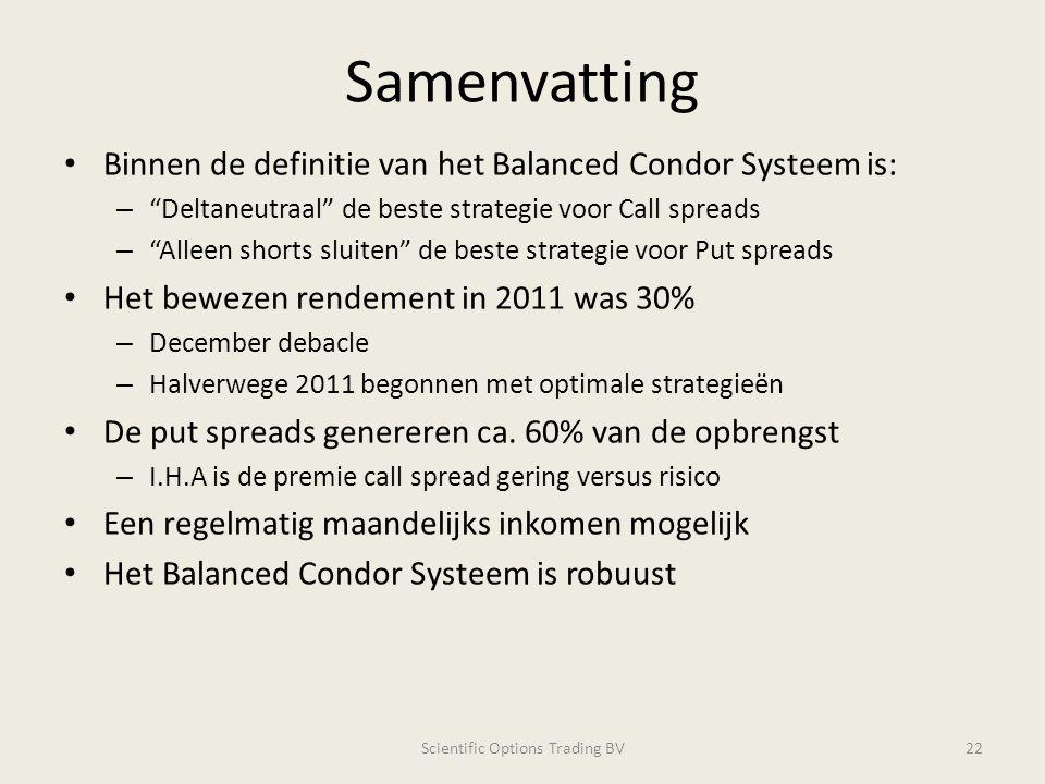 """Samenvatting Binnen de definitie van het Balanced Condor Systeem is: – """"Deltaneutraal"""" de beste strategie voor Call spreads – """"Alleen shorts sluiten"""""""