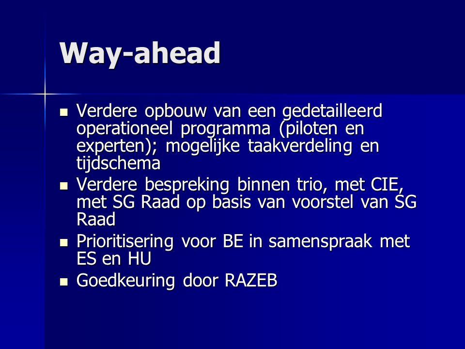 Way-ahead Verdere opbouw van een gedetailleerd operationeel programma (piloten en experten); mogelijke taakverdeling en tijdschema Verdere opbouw van