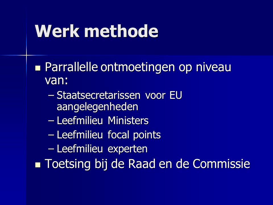 Werk methode Parrallelle ontmoetingen op niveau van: Parrallelle ontmoetingen op niveau van: –Staatsecretarissen voor EU aangelegenheden –Leefmilieu M
