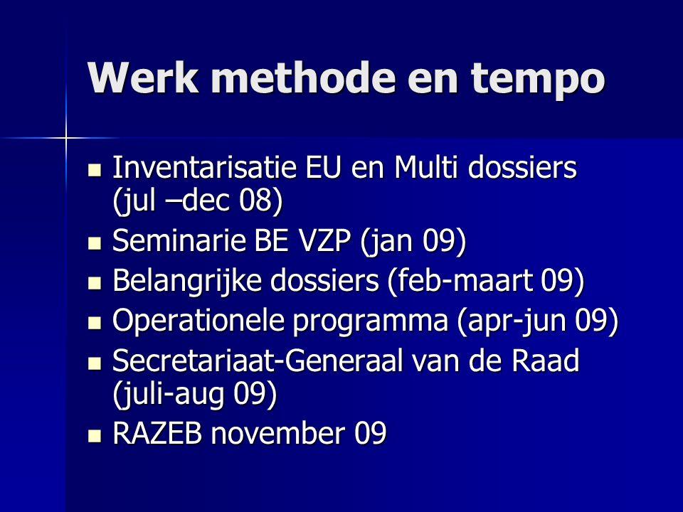 Inventarisatie EU en Multi dossiers ZEER druk agenda .