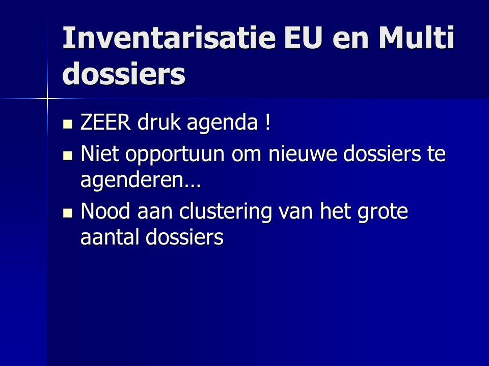 Inventarisatie EU en Multi dossiers ZEER druk agenda ! ZEER druk agenda ! Niet opportuun om nieuwe dossiers te agenderen… Niet opportuun om nieuwe dos