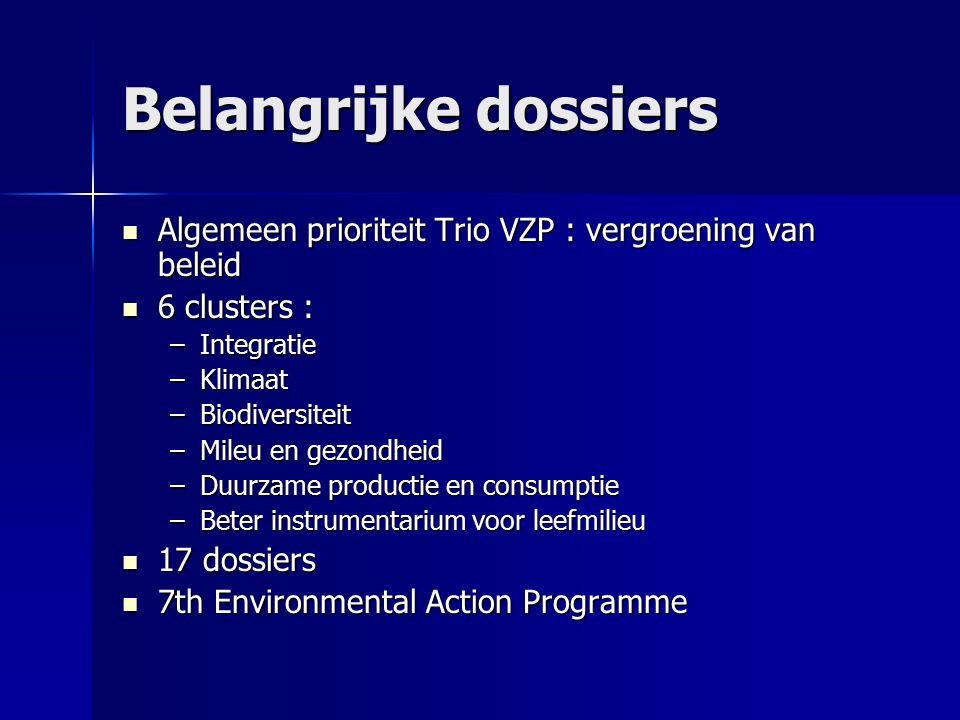 Belangrijke dossiers Algemeen prioriteit Trio VZP : vergroening van beleid Algemeen prioriteit Trio VZP : vergroening van beleid 6 clusters : 6 cluste