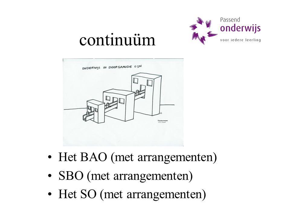 continuüm Het BAO (met arrangementen) SBO (met arrangementen) Het SO (met arrangementen)