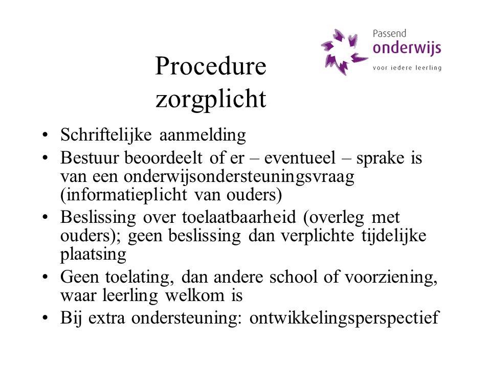 Procedure zorgplicht Schriftelijke aanmelding Bestuur beoordeelt of er – eventueel – sprake is van een onderwijsondersteuningsvraag (informatieplicht