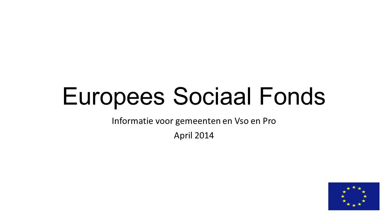 Europees Sociaal Fonds Informatie voor gemeenten en Vso en Pro April 2014