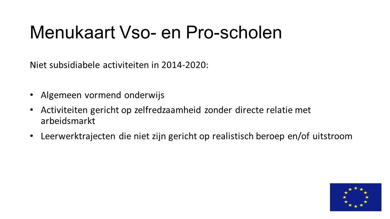 Menukaart Vso- en Pro-scholen Niet subsidiabele activiteiten in 2014-2020: Algemeen vormend onderwijs Activiteiten gericht op zelfredzaamheid zonder d