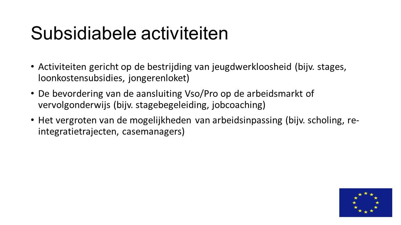 Subsidiabele activiteiten Activiteiten gericht op de bestrijding van jeugdwerkloosheid (bijv. stages, loonkostensubsidies, jongerenloket) De bevorderi