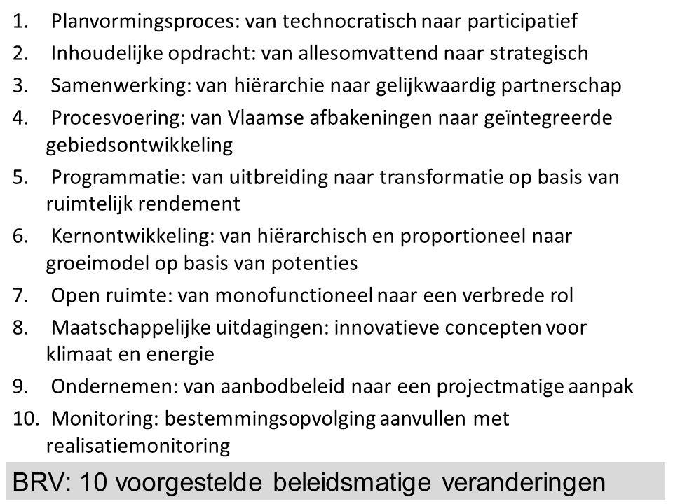1. Planvormingsproces: van technocratisch naar participatief 2. Inhoudelijke opdracht: van allesomvattend naar strategisch 3. Samenwerking: van hiërar
