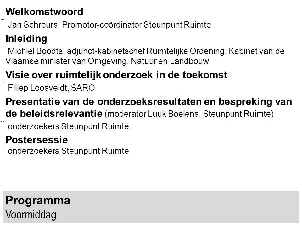 Vanuit verschillende hoeken is er steun voor de stelling dat wetenschappelijke ondersteuning van het beleid nodig is SERV (strategisch, meerjarig, per beleidsomein & transversaal) Vlaamse Regering (transversaal) Ruimte Vlaanderen (3 trappen, 5 sporen) Expertenforum (breekpunten & transitie)...