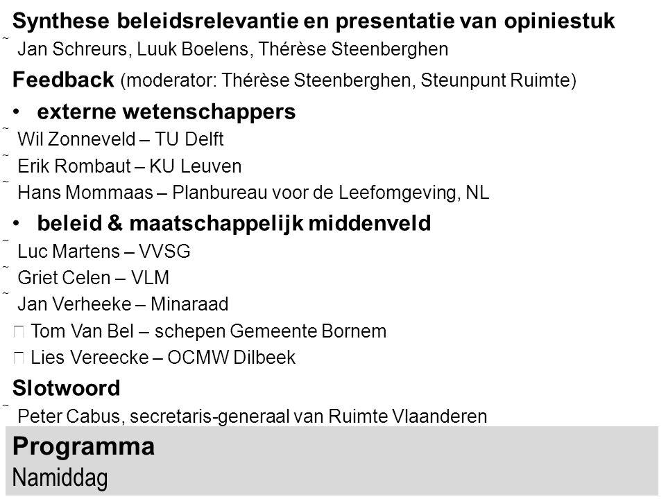 Programma Namiddag Synthese beleidsrelevantie en presentatie van opiniestuk  Jan Schreurs, Luuk Boelens, Thérèse Steenberghen Feedback (moderator: Th