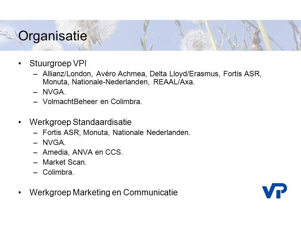 Organisatie Stuurgroep VPI –Allianz/London, Avéro Achmea, Delta Lloyd/Erasmus, Fortis ASR, Monuta, Nationale-Nederlanden, REAAL/Axa. –NVGA. –VolmachtB