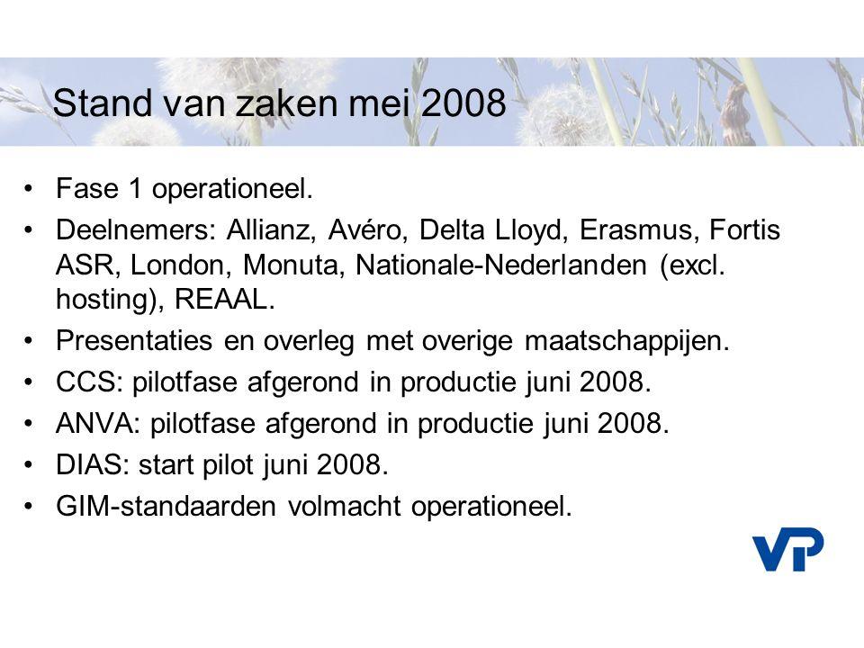 Stand van zaken mei 2008 Fase 1 operationeel. Deelnemers: Allianz, Avéro, Delta Lloyd, Erasmus, Fortis ASR, London, Monuta, Nationale-Nederlanden (exc