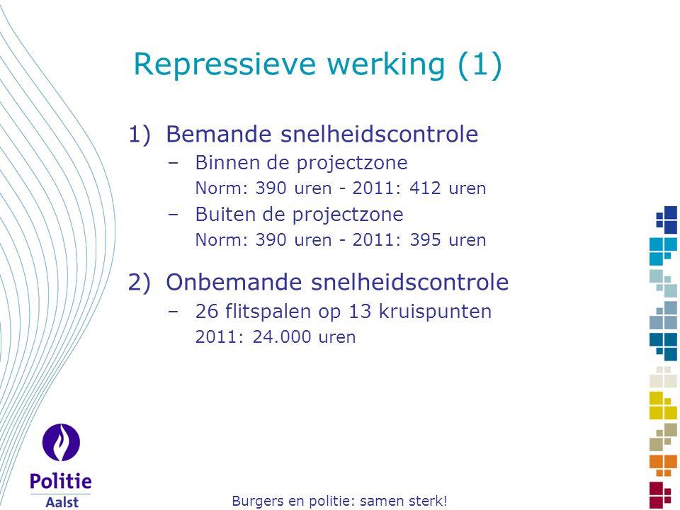 Burgers en politie: samen sterk! Repressieve werking (1) 1)Bemande snelheidscontrole –Binnen de projectzone Norm: 390 uren - 2011: 412 uren –Buiten de