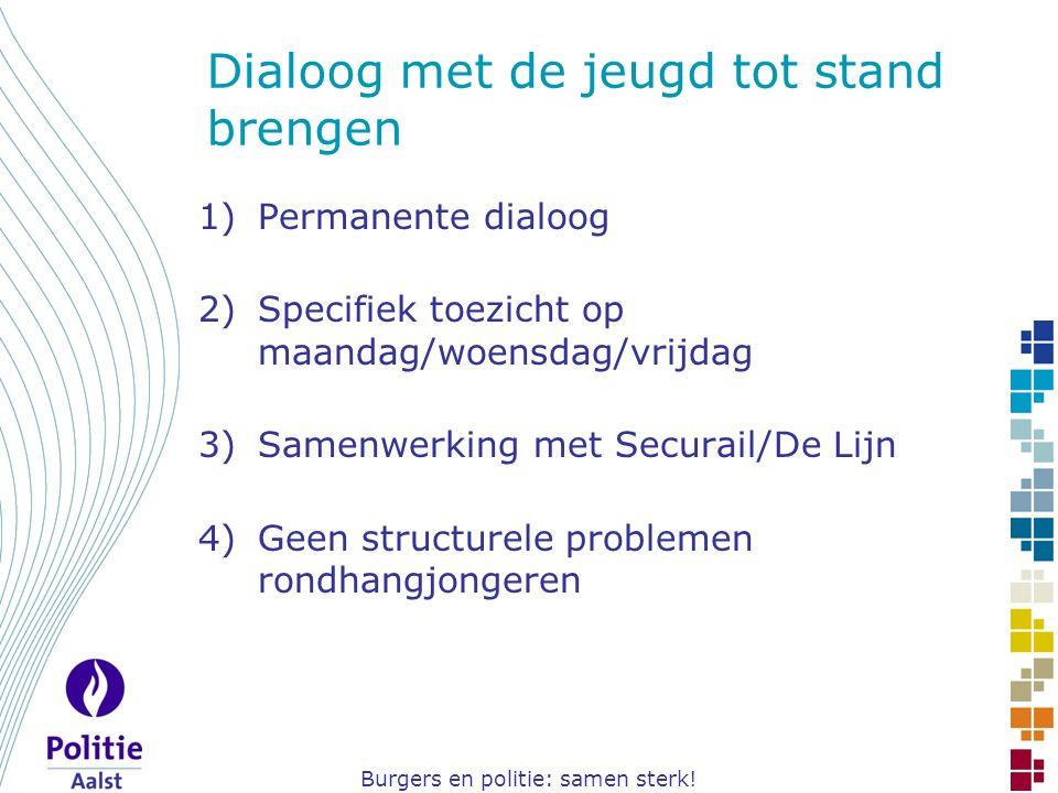 Burgers en politie: samen sterk! Dialoog met de jeugd tot stand brengen 1)Permanente dialoog 2)Specifiek toezicht op maandag/woensdag/vrijdag 3)Samenw