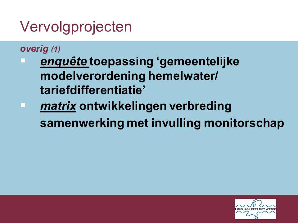 Vervolgprojecten overig (1)  enquête toepassing 'gemeentelijke modelverordening hemelwater/ tariefdifferentiatie'  matrix ontwikkelingen verbreding samenwerking met invulling monitorschap