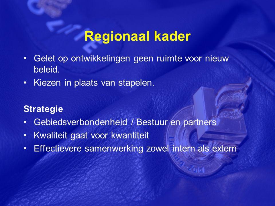 Regionaal kader Gelet op ontwikkelingen geen ruimte voor nieuw beleid.